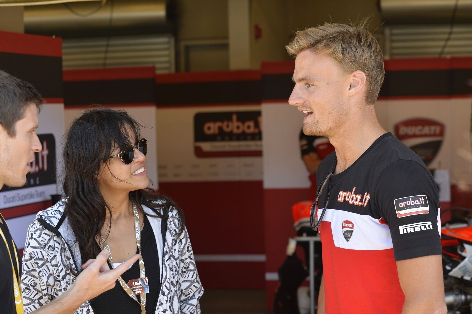 2015 Ducati Panigale R | Chaz Davies chats with actress Michelle Rodriguez