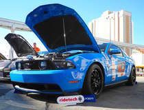Saroja Raman's Grabber Blue S197 Mustang GT on Forgeline GA3 Wheels - Front Angle Shot
