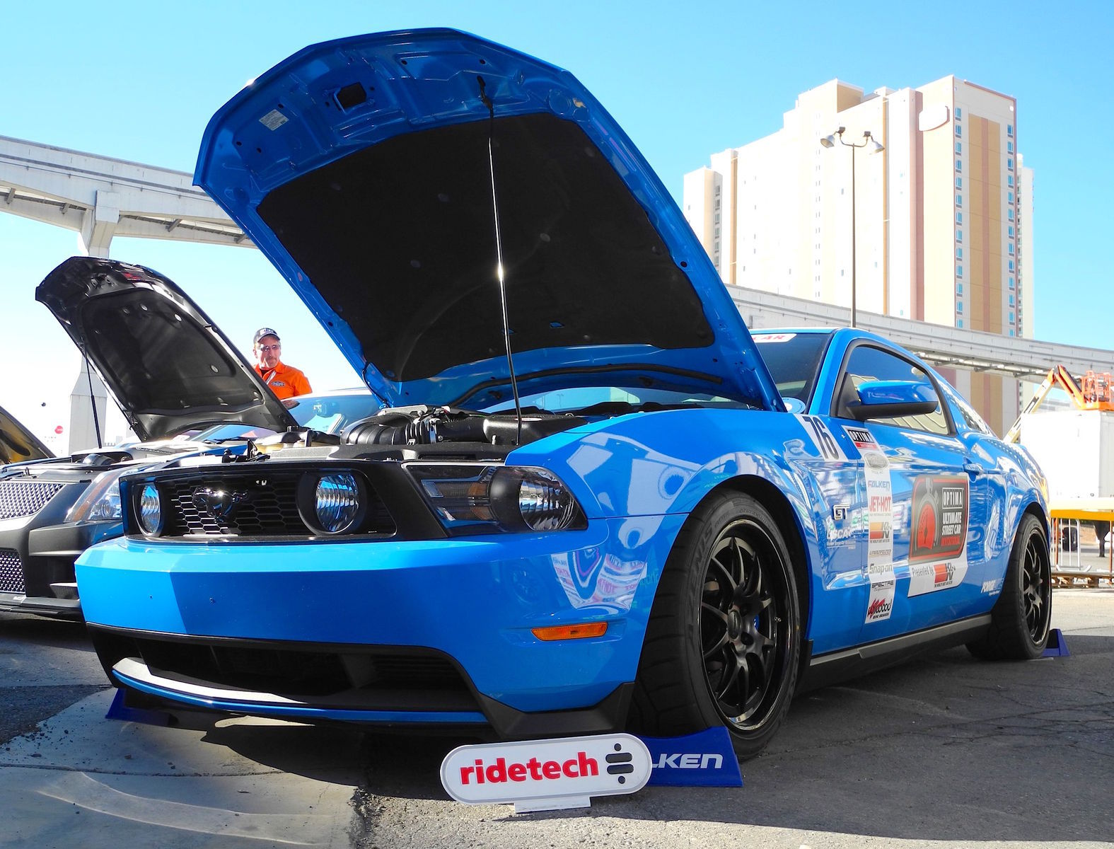 2010 Ford Mustang | Saroja Raman's Grabber Blue S197 Mustang GT on Forgeline GA3 Wheels - Front Angle Shot