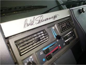 2012 Mercedes-Benz Unimog | Arnie's signature on the Unimog Dashboard