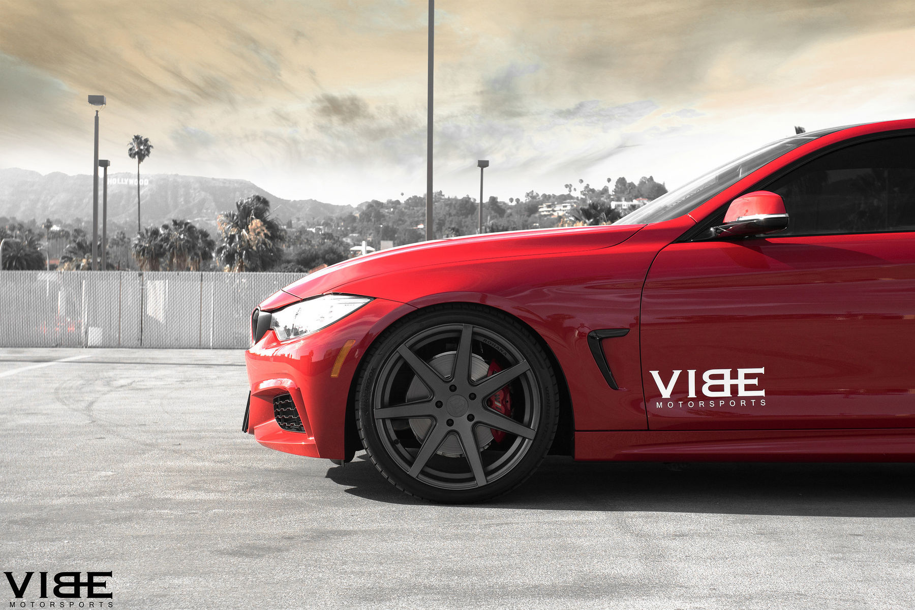 2014 BMW 4 Series   Red BMW 435i equipped with Rohana wheels and lowered on H&R Springs - Wheel Shot