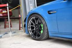 Blue BMW E92 M3 on Forgeline One Piece Forged Monoblock GS1R Wheels in Black Chrome PVD - Up Close Wheel Shot