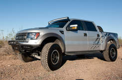 Silver Raptor with Straight and Curved Rigid Industries light bars