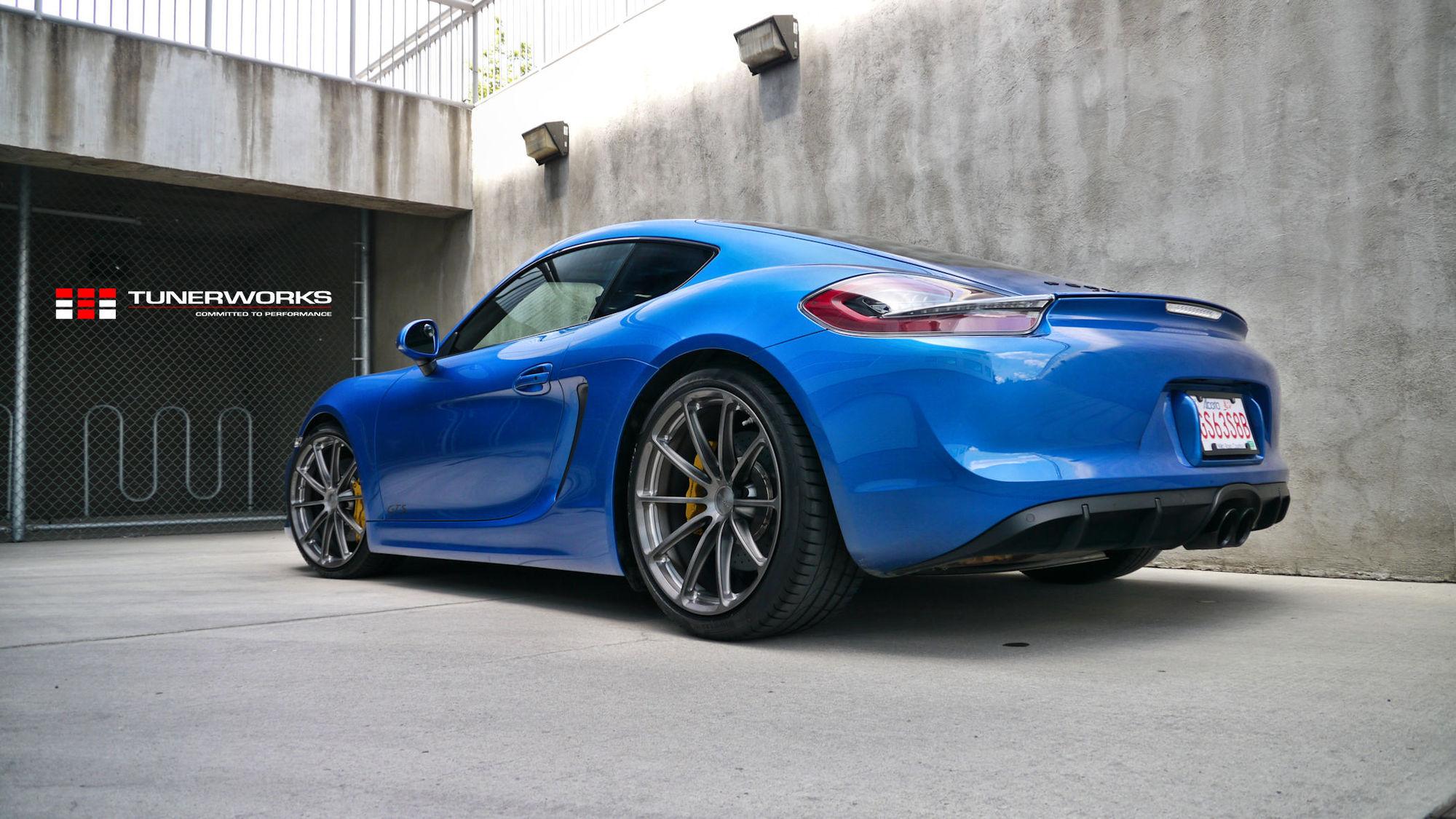 2017 Porsche Cayman | Tunerworks Blue Porsche Cayman GTS on Forgeline One Piece Forged Monoblock GT1 5-Lug Wheels