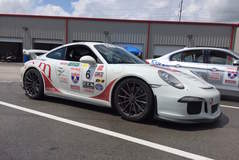 Chuck and Christie Veth's Porsche 991 GT3 on Forgeline One Piece Forged Monoblock GT1 Wheels at OLOA 2016