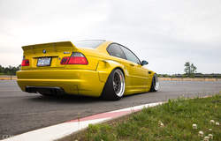 Phoenix Yellow Pandem Widebody E46 M3 - CCW Classic 3 Piece Wheels
