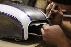 DIY pinstriping for the Bullitt CB tank