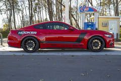 The Holley Performance Hooker Headers BlackHeart S550 Ford Mustang GT on Forgeline One Piece Forged Monoblock AR1 Wheels