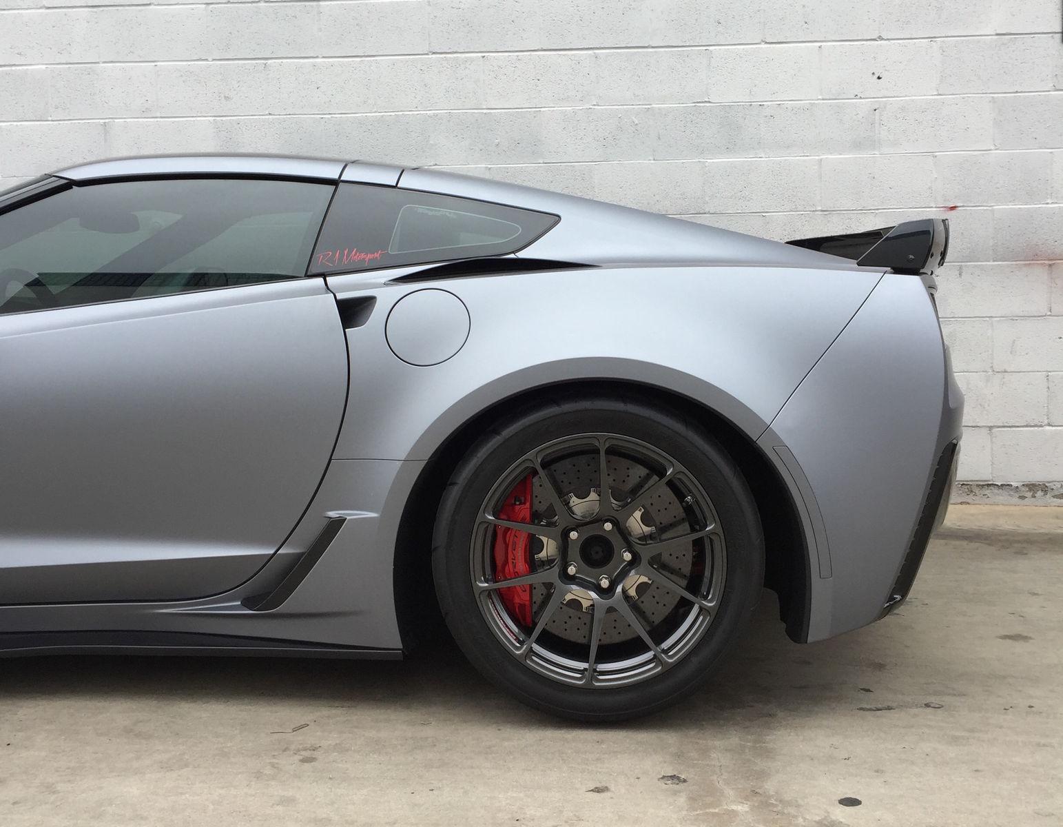 2016 Chevrolet Corvette Z06 | Wrapped C7 Corvette Z06 on Forgeline One Piece Forged Monoblock GA1R Open Lug Wheels from R1 Motorsport