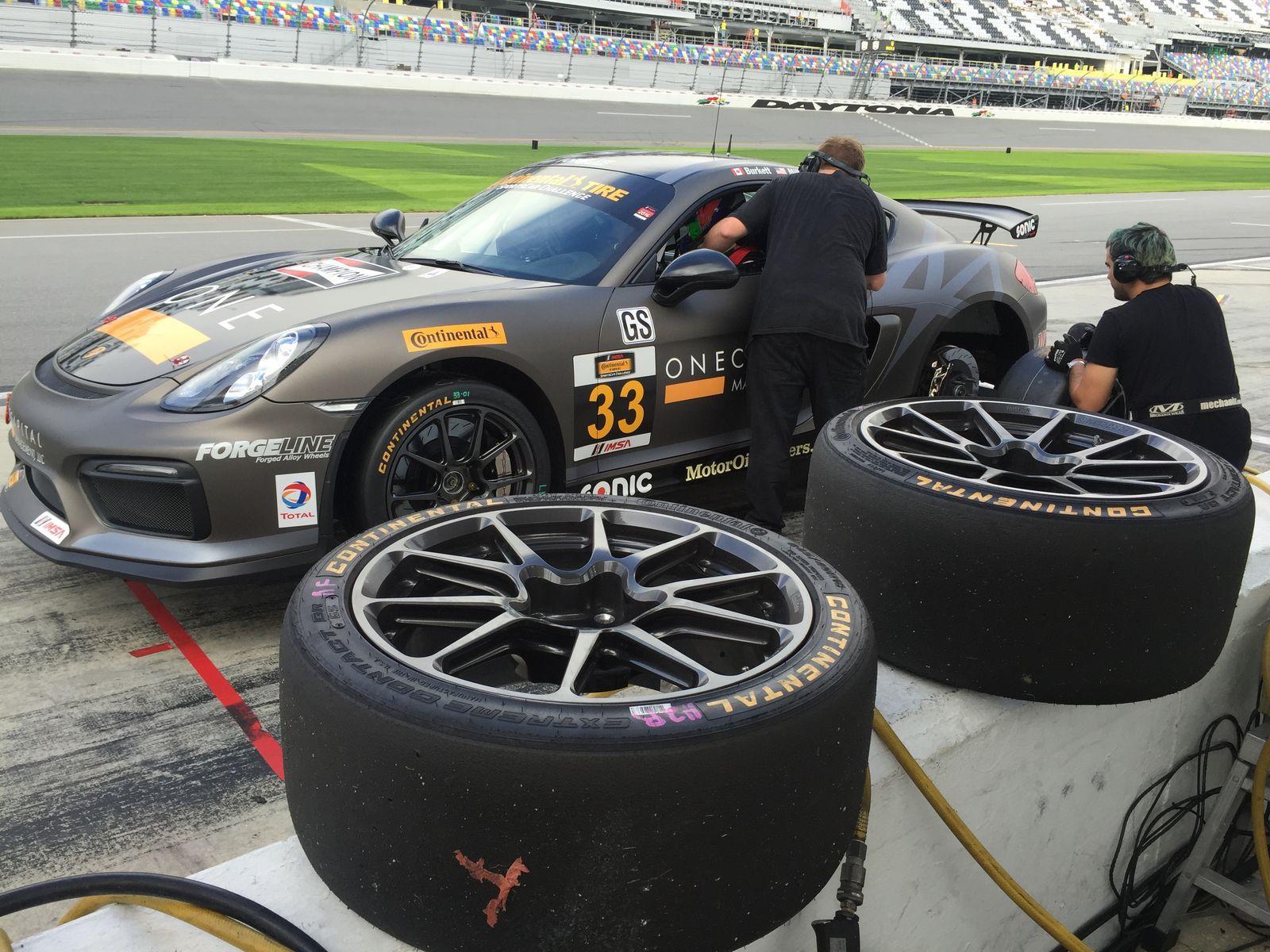 2016 Porsche Cayman | CJ Wilson Racing's GS Class Porsche Cayman Clubsport on Forgeline One PIece Forged Monoblock GS1R Wheels - Pit Stop