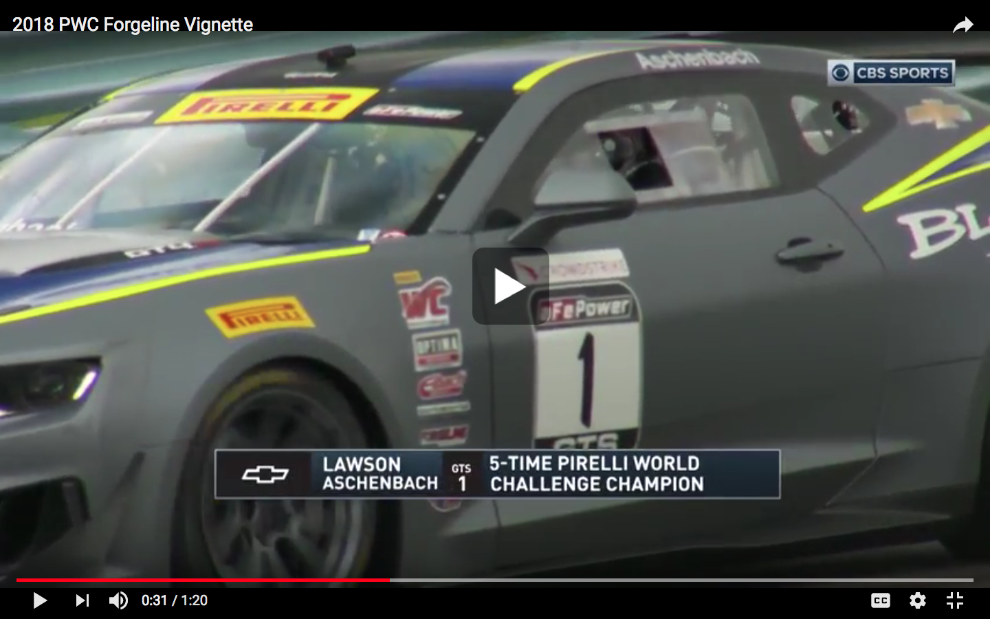 | Video: Forgeline is the Official Wheel of Pirelli World Challenge Championship Racing