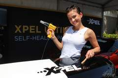 "Ekaterina ""Katia"" giving a demonstration on how XPEL ULTIMATE is self-healng"