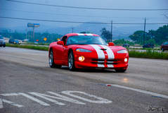 Dodge Viper rolling shot while driving out of Cars and Coffee San Antonio