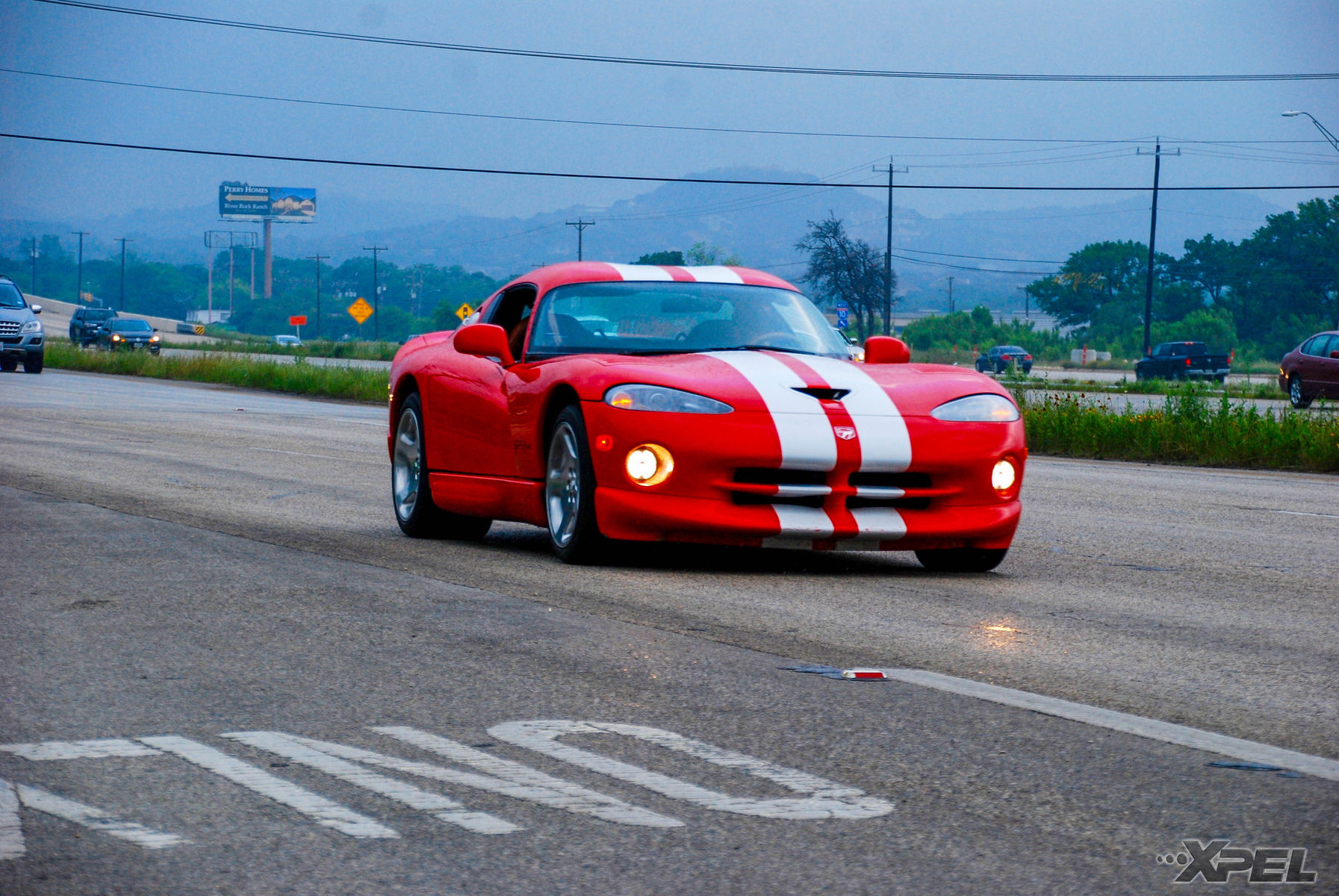 Dodge Viper   Dodge Viper rolling shot while driving out of Cars and Coffee San Antonio