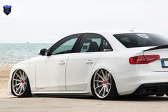 White Audi A4 - Driver Side Stance