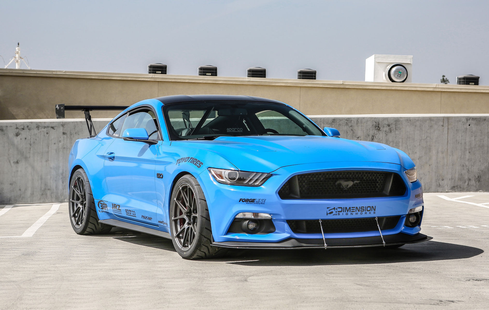 2015 Ford Mustang   Michael Chen's S550 Ford Mustang GT on Forgeline One Piece Forged Monoblock GA1R Open Lug Wheels