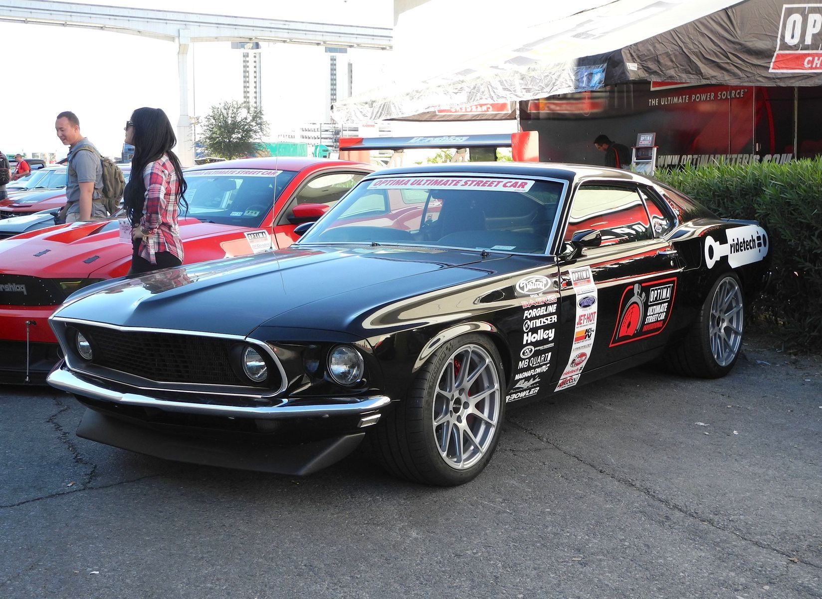 1969 Ford Mustang | Hal Baer's 1969 Mustang Mach 1 on Forgeline One Piece Forged Monoblock GA1R Wheels - Front Angled Shot