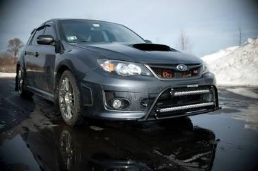 Subaru with Rigid Industries lights