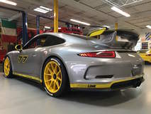 Phil T's Porsche 991 GT3 With PCCB Ceramic Brakes on 19-inch Forgeline One Piece Forged Monoblock GA1R Centerlock Wheels