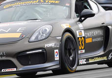CJ Wilson Racing's GS Class Porsche Cayman Clubsport on Forgeline One PIece Forged Monoblock GS1R Wheels