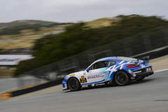 CJ Wilson Racing #35 Porsche Cayman on Forgeline One PIece Forged Monoblock GS1R Wheels Third at Laguna Seca