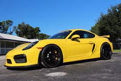 Gavin Riches' AutoQuest Porsche Cayman GT4 on Forgeline One Piece Forged Monoblock GA1R Open Lug Wheels