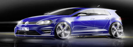 Early concept drawing of the VW Golf R
