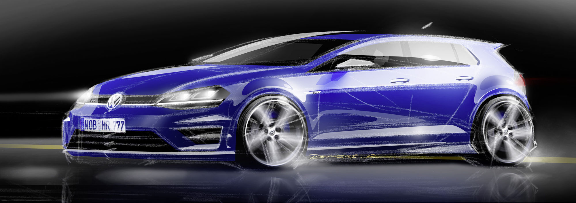 2015 Volkswagen Golf R | Early concept drawing of the VW Golf R
