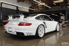 "BBi Autosport's ""Project Swan"" Porsche 911 Turbo on Forgeline One Piece Forged Monoblock GA1R Open Lug Wheels"