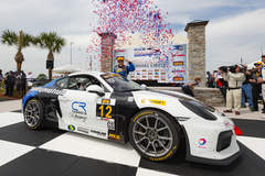 Bodymotion Racing Wins IMSA Sebring 150 in Porsche Cayman GT4 Clubsport on Forgeline One Piece Forged Monoblock GS1R Wheels