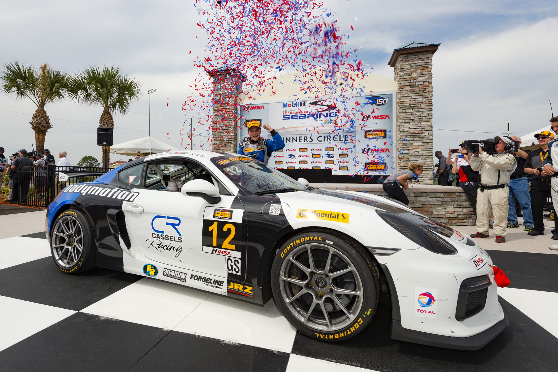 2016 Porsche Cayman | Bodymotion Racing Wins IMSA Sebring 150 in Porsche Cayman GT4 Clubsport on Forgeline One Piece Forged Monoblock GS1R Wheels