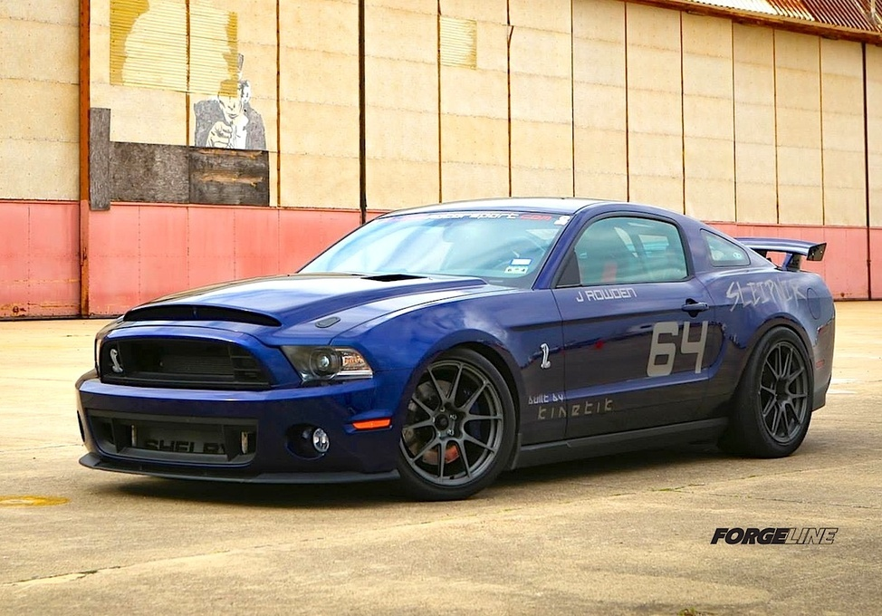 2011 Ford Shelby GT500 | Jake Rowden's 1200HP GT500 on Forgeline One Piece Forged Monoblock GA1R Open Lug Wheels