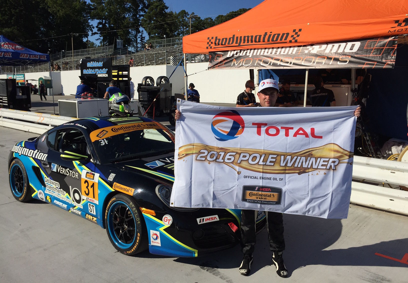 2016 Porsche Cayman | Jason Rabe Wins IMSA CTSC ST Class Pole at Road Atlanta in the #31 Bodymotion Racing Porsche Cayman on Forgeline GA3R Wheels