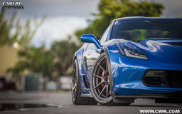 Edwin's Blue C7 Corvette Z06 on Forgeline One Piece Forged Monoblock GA1R Wheels
