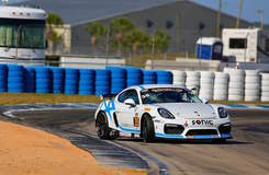 CJ Wilson Racing's #35 GS Class Porsche Cayman Clubsport on Forgeline One PIece Forged Monoblock GS1R Wheels