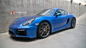 Tunerworks Blue Porsche Cayman GTS on Forgeline One Piece Forged Monoblock GT1 5-Lug Wheels