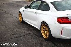 Taylor McGohan's BMW F87 M2 on Forgeline One Piece Forged Monoblock GA1R Open Lug Wheels