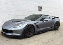 Wrapped C7 Corvette Z06 on Forgeline One Piece Forged Monoblock GA1R Open Lug Wheels from R1 Motorsport