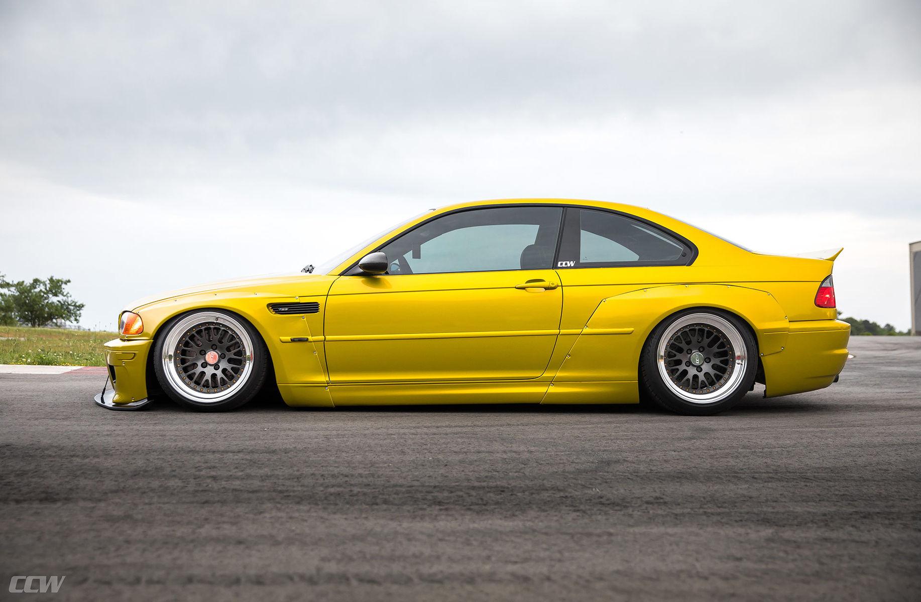 BMW M3 | Phoenix Yellow Pandem Widebody E46 M3 - CCW Classic 3 Piece Wheels