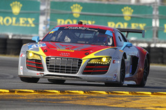 Audi looking sharp with Continental Tires and the Rolex banner in the background.