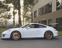 Scottie B's Porsche 991 GT3 Super Street Cup on Forgeline One Piece Forged Monoblock GT1 Wheels - Side Stance View