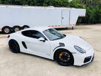 2018 Porsche Cayman | BGB Motorsports White Rhino Porsche Cayman on Forgeline One Piece Forged Monoblock GA1R Open Lug Wheels