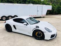 BGB Motorsports White Rhino Porsche Cayman on Forgeline One Piece Forged Monoblock GA1R Open Lug Wheels