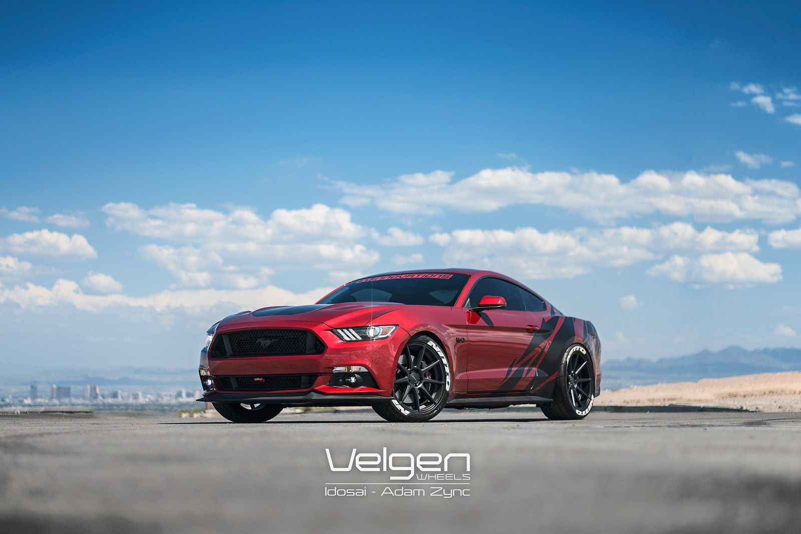 2015 Ford Mustang | 2015 Mustang Ruby Red on Velgen Wheels VMB9 - Full Shot