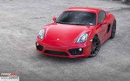 Red Porsche Cayman S on Forgeline One Piece Forged Monoblock GA1R Wheels