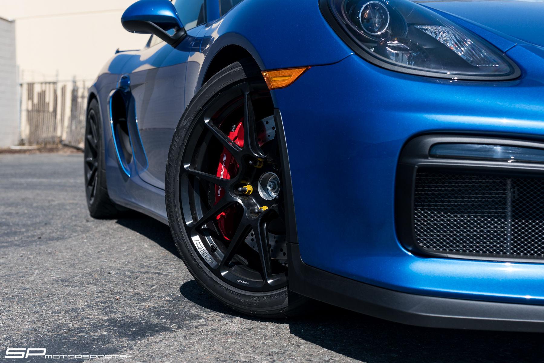 2016 Porsche Cayman | Sapphire Blue Porsche Cayman GT4 on Satin Black Forgeline One Piece Forged Monoblock GS1R Wheels