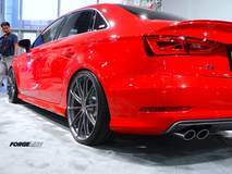 H&R's 2015 Audi S3 on Forgeline One Piece Forged Monoblock GT1 5-Lug Wheels at SEMA 2014