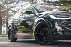 "Tesla Model X P100D on 22"" Avant Garde M615 Wheels - Satin Black"