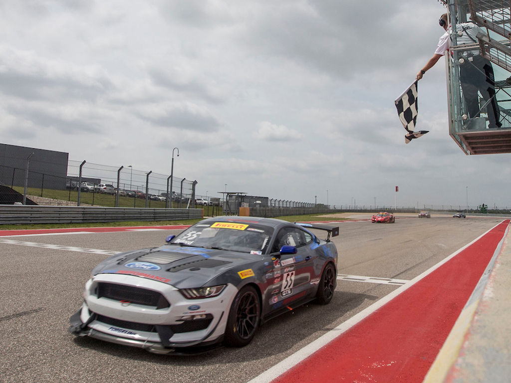 2018 Ford Mustang   PF Racing's #55 Ford Mustang GT4 Wins at COTA on Forgeline One Piece Forged Monoblock GS1R Wheels