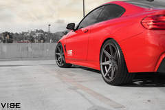 "2014 Red BMW 435i on 20"" Rohana RC7 wheels and lowered on H&R Springs - Side Wheel Shot"